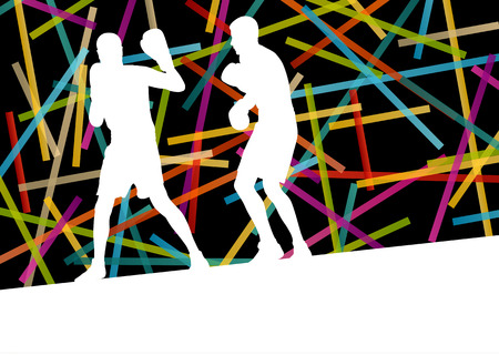 combative: Boxing men in abstract vector concept background illustration