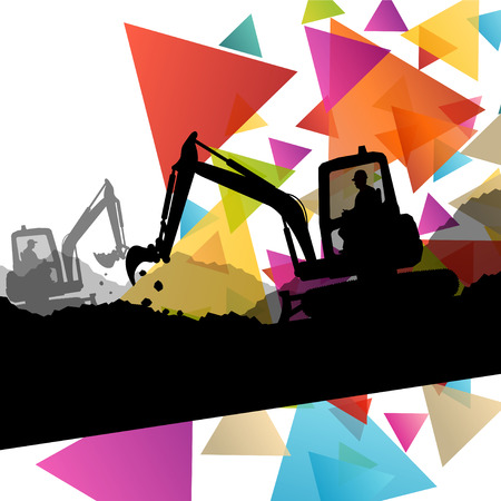 bulldozers: Construction site excavators and diggers with tractors and bulldozers in building site abstract vector background illustration vector
