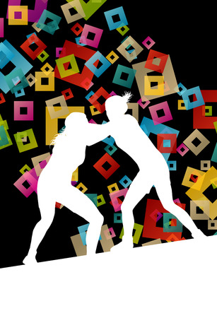 wrestle: Greek roman wrestling active young women sport silhouettes vector abstract background illustration concept Illustration