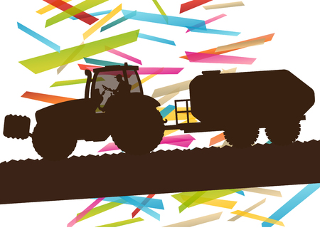 agriculture machinery: Agriculture machinery farm tractor vector illustration in farming landscape abstract background concept