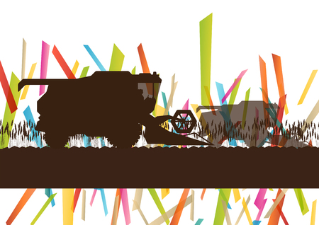 combines: Agriculture machinery farm harvester tractor combines vector illustration in farming landscape abstract background concept