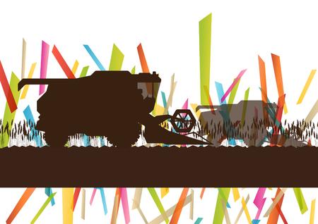 champ de mais: Machines agricoles de récolte de tracteur agricole combine illustration vectorielle dans l'agriculture paysage abstrait, fond, concept Illustration