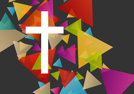 Christianisme la religion notion croix fond abstrait illustration vectorielle Vecteurs