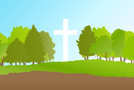 christianity: Cross landscape background vector abstract Christianity concept