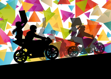 leather pants: Motorcycle performance extreme stunt driver man and woman in abstract sport landscape background illustration vector