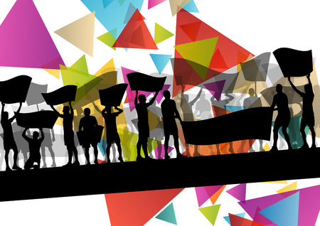 People silhouettes of cheering or protesting man and women with banners and signs in abstract vector background illustration Illustration