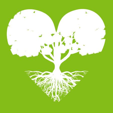 Árbol de la vida del fondo del vector concepto de la ecología de la forma abstracta del corazón del árbol estilizado con raíces hechas por la imaginación Ilustración de vector
