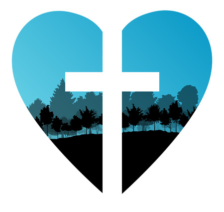 worshiping: Cross heart tree landscape background vector abstract Christianity concept