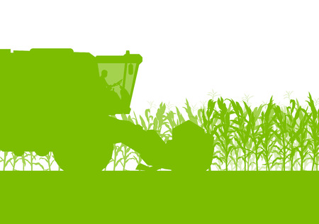 Corn field harvesting with combine harvester green ecology organic food abstract rural autumn Vectores