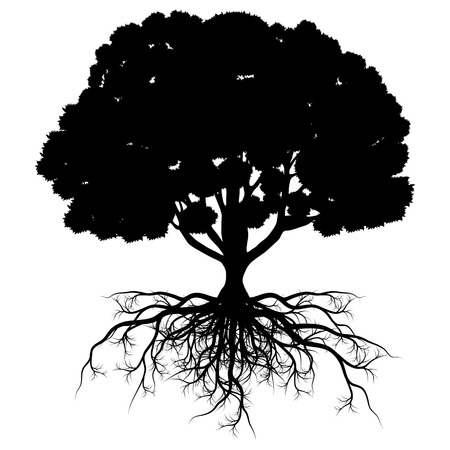 completed: Tree of life vector background abstract shape stylized tree with roots made by imagination Illustration