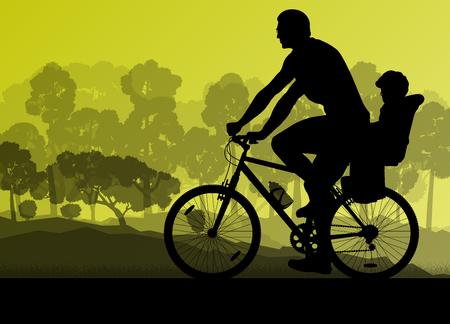 bicicleta vector: Ciclismo ciclista bicicleta de la familia ganadora fondo de la silueta atleta vector concepto de ilustración detallada
