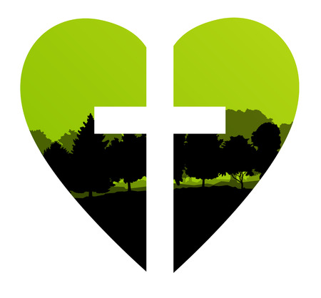 christianity: Cross heart tree landscape background vector abstract Christianity concept