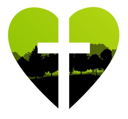 cristianismo: Cruz del corazón del árbol del paisaje del fondo del vector concepto abstracto Cristianismo Vectores