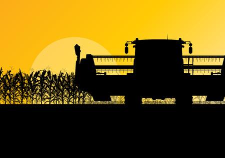 cosechadora: La cosecha Campo de maíz con cosechadora amarilla resumen otoño rural de vectores de fondo