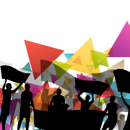 objection: People silhouettes of cheering or protesting man and women with banners and signs in abstract vector background illustration Illustration