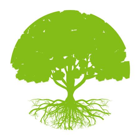 Árbol de la vida del fondo del vector abstracto concepto de la ecología forma redonda árbol estilizado con raíces hechas por la imaginación