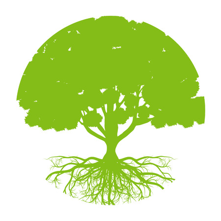 Arbre de vecteur de vie, fond, concept écologie abstraite forme ronde arbre stylisé avec des racines faites par imagination