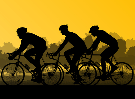 bicycler: Bicyclist riding bicycle group marathon background silhouette vector illustration landscape with sunset