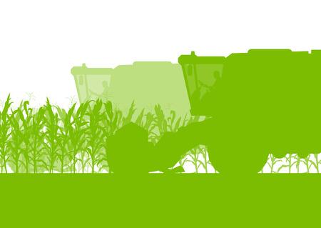 champ de mais: Champ de maïs récolte avec moissonneuse écologie vert aliments biologiques automne rural abstraite