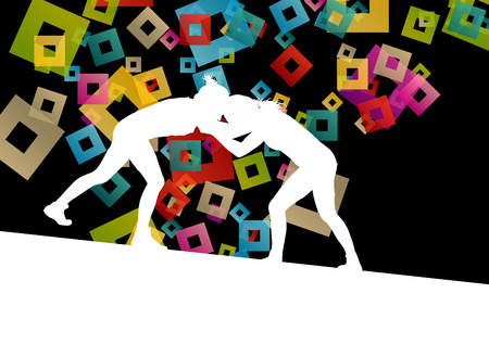 women sport: Greek roman wrestling active young women sport silhouettes vector abstract background illustration concept Illustration
