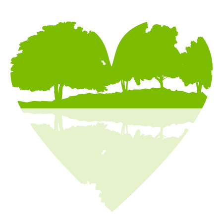 ecology background: Forest green vector background abstract ecology concept heart shape stylized trees