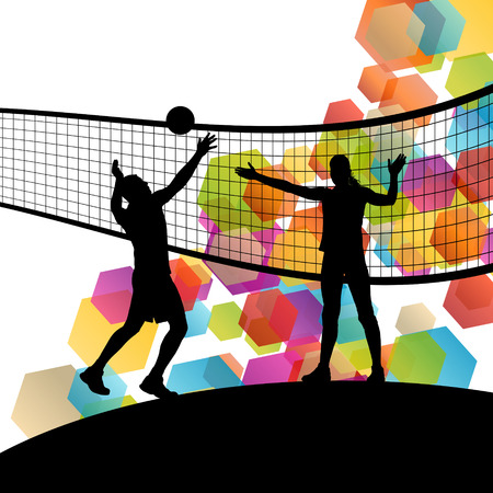 volleyball: Volleyball player silhouettes in sport abstract vector background illustration