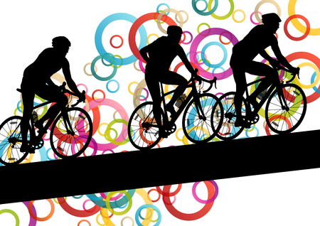 sport fitness: Active men cyclists bicycle riders in abstract sport landscape background illustration vector