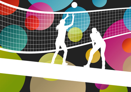 net: Volleyball player silhouettes in sport abstract vector background illustration