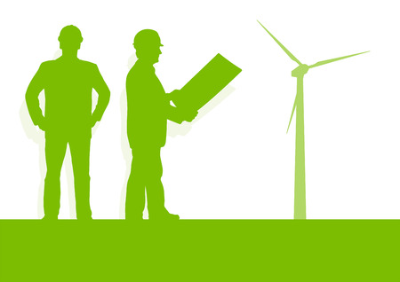 Engineer technician green energy wind turbine power generator station background vector concept