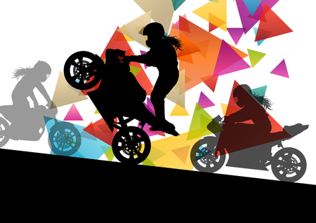 headpiece: Motorcycle performance extreme stunt driver man and woman in abstract sport landscape background illustration vector