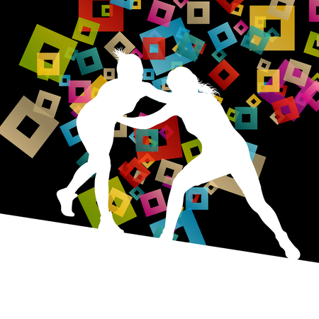 wrestler: Greek roman wrestling active young women sport silhouettes vector abstract background illustration concept Illustration