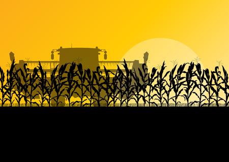 Corn field harvesting with combine harvester yellow abstract rural autumn vector background Stock Illustratie