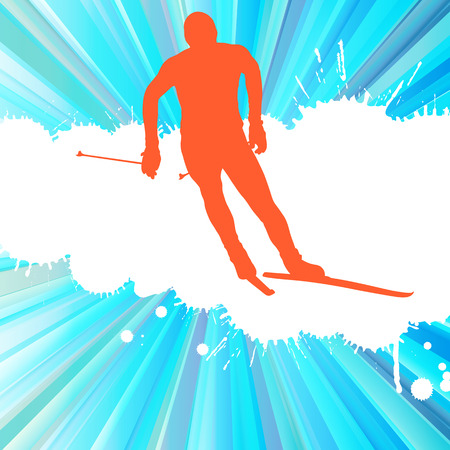 cross country: Cross country skiing man vector background concept illustration