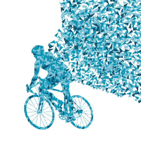 bycicle: Cyclists rider winner vector background concept made of fragments isolated on white