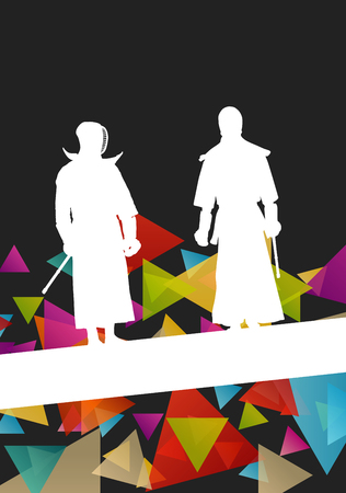 kendo: Active japanese Kendo sword martial arts fighters sport silhouettes abstract illustration background vector