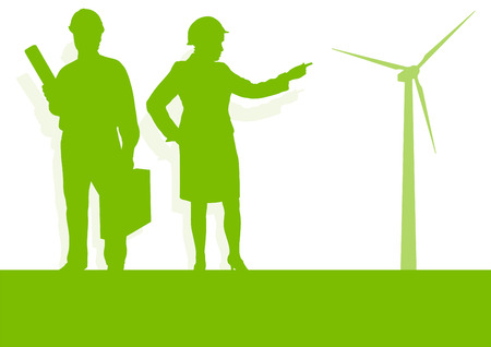 turbina: Ingeniero técnico de turbina eólica energía estación generador de energía concepto de vectores de fondo verde