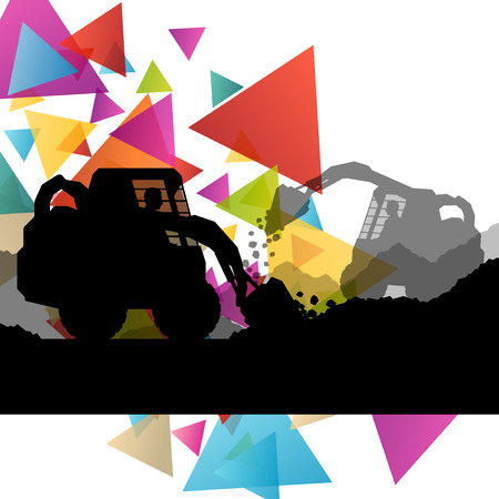 diggers: Construction site excavators and diggers with tractors and bulldozers in building site abstract vector background illustration vector