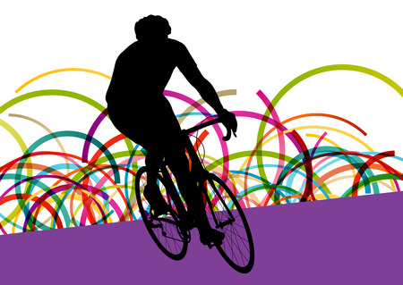 racing bicycle: Cyclist in action vector abstract background illustration colorful winner concept