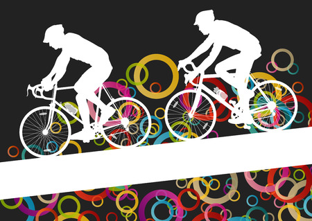 family park: Active men cyclists bicycle riders in abstract sport landscape background illustration vector