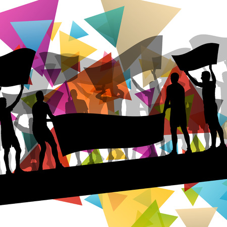 a group of people protesting: People silhouettes of cheering or protesting man and women with banners and signs in abstract vector background illustration Illustration
