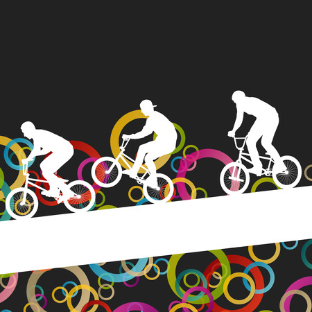 Children extreme cyclist young and active people sport silhouettes vector background illustration
