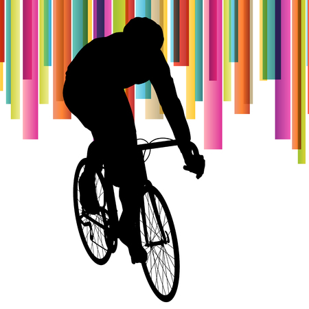 Cyclist in action vector abstract background illustration colorful winner concept