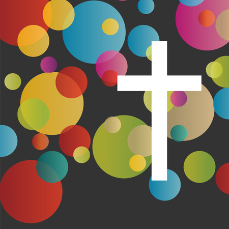 juventud: Cristianismo religión concepto cruz fondo abstracto ilustración vectorial