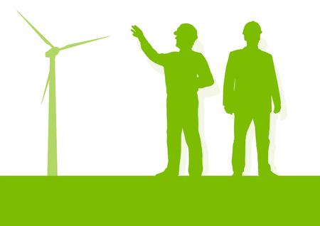 wind power: Engineer technician green energy wind turbine power generator station background vector concept Illustration