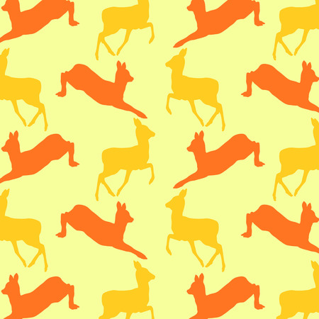 animal pattern: Doe deer animal seamless pattern colorful vector wallpaper for kid background concept