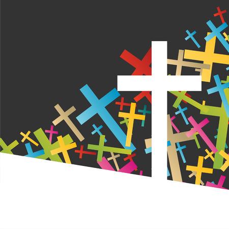 cristianismo: Cristianismo religión concepto cruz fondo abstracto ilustración vectorial