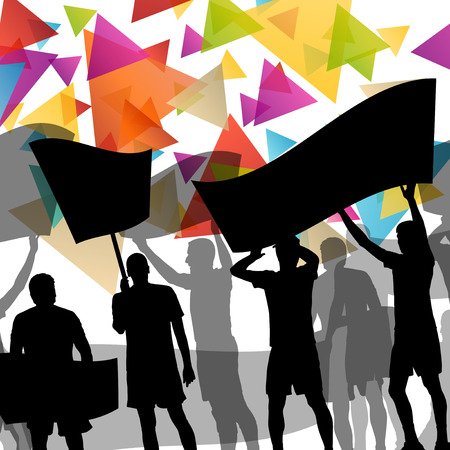 youth group: People silhouettes of cheering or protesting man and women with banners and signs in abstract vector background illustration Illustration