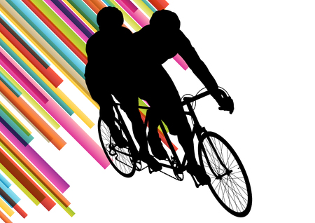 shilouette: Cyclist in action vector abstract background illustration colorful winner concept