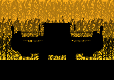 wheeled tractor: Corn field harvesting with combine harvester yellow abstract rural autumn vector background Illustration