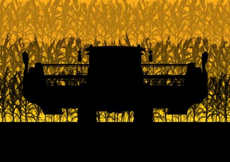 planta de maiz: La cosecha Campo de maíz con cosechadora amarilla resumen otoño rural de vectores de fondo